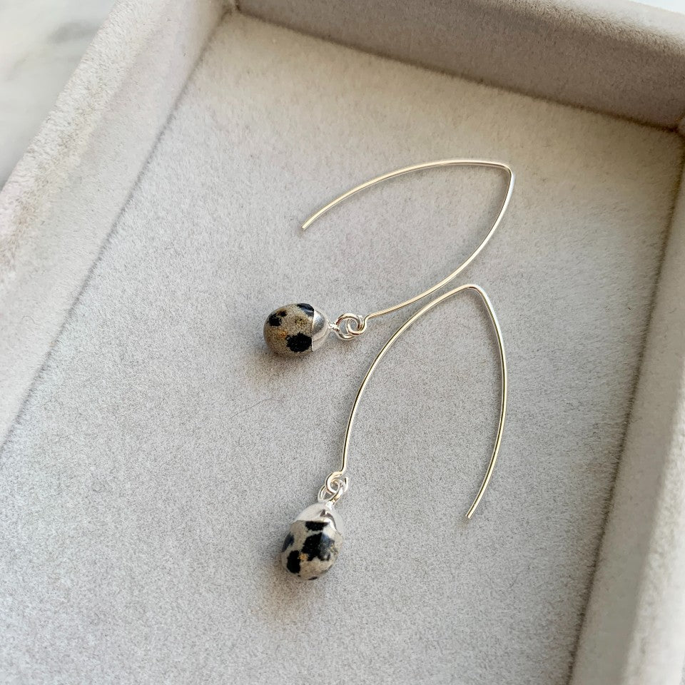 Tiny Tumbled Gemstone Dropper Earrings - Silver - Dalmatian - Decadorn