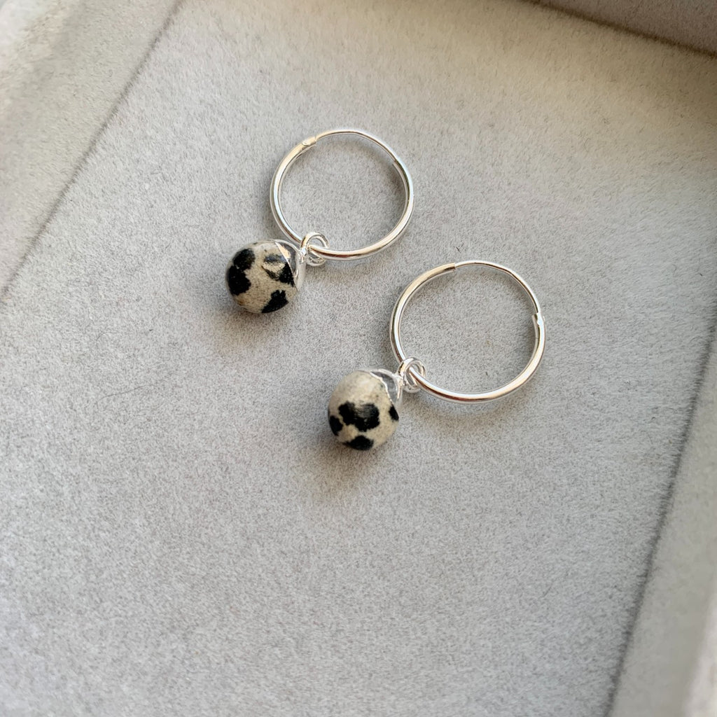 Tiny Tumbled Gemstone Hoop Earrings - Sterling SIlver - Dalmatian - Decadorn