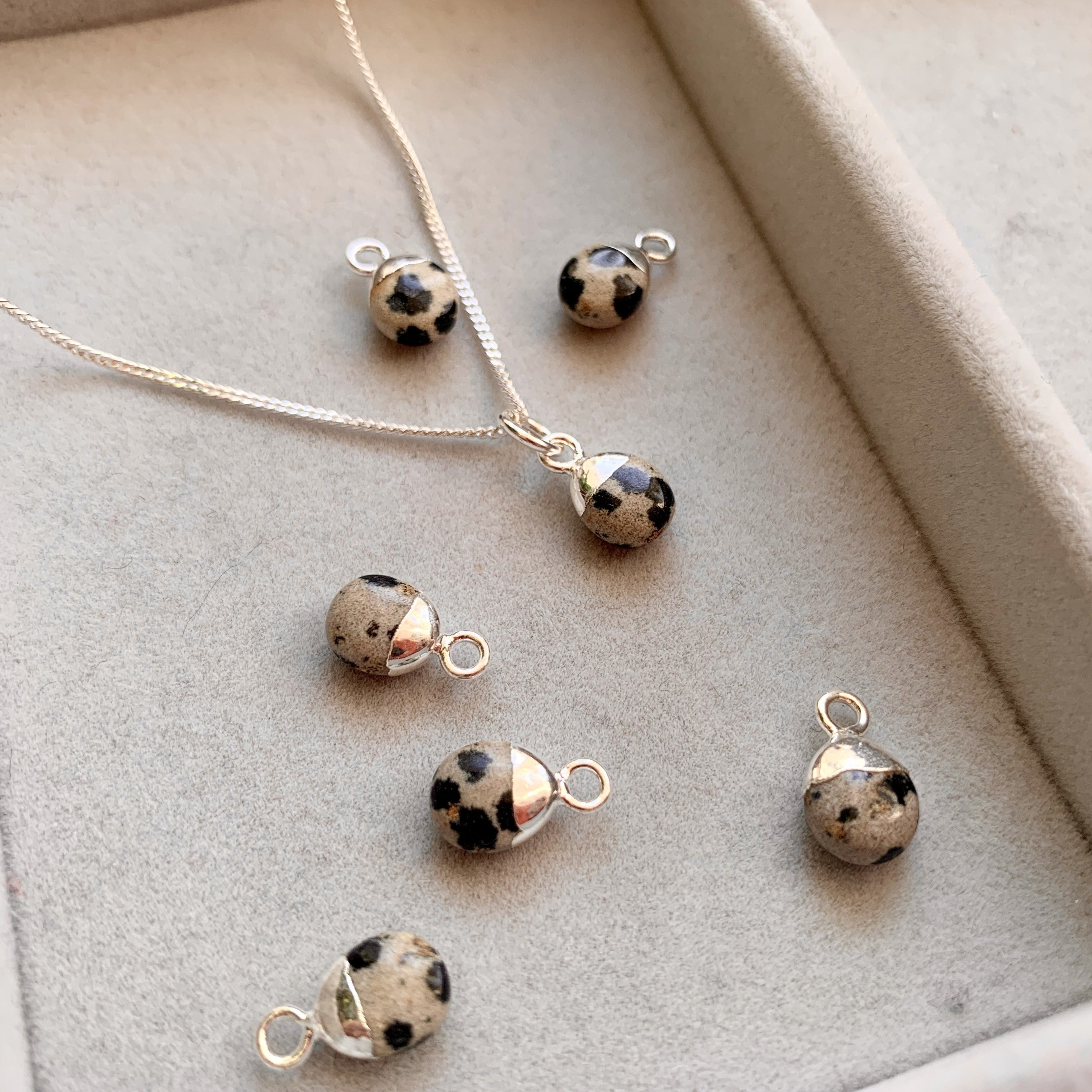 Tiny Tumbled Gemstone Necklace - Silver - Dalmatian - Decadorn
