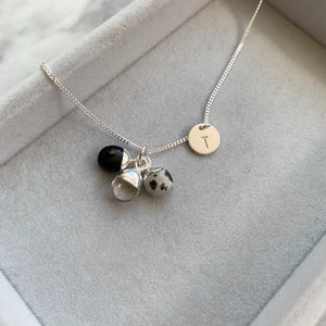 Tiny Tumbled Triple Necklace - Silver - Healing, Strength and Protection - Decadorn