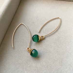Tiny Tumbled Gemstone Dropper Earrings - Green Agate (Protection) - Decadorn