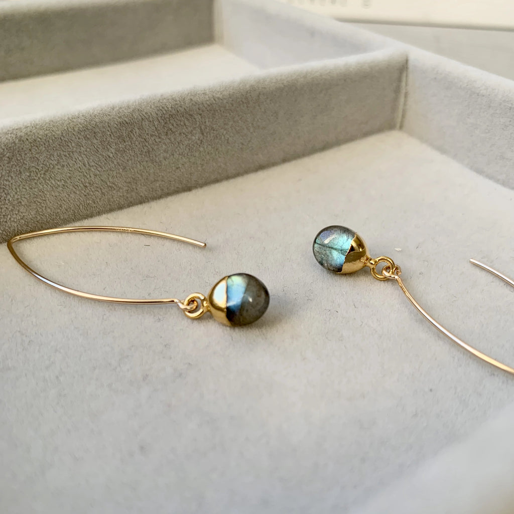 Tiny Tumbled Gemstone Dropper Earrings - Labradorite (Adventure)(Pre order for end April delivery) - Decadorn