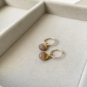 Tiny Tumbled Gemstone Hoop Earrings - Chocolate Moonstone (New Beginnings) - Decadorn