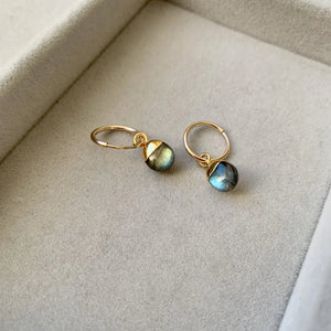 Tiny Tumbled Gemstone Hoop Earrings - Labradorite (Adventure)(Pre order for Beginning May delivery) - Decadorn