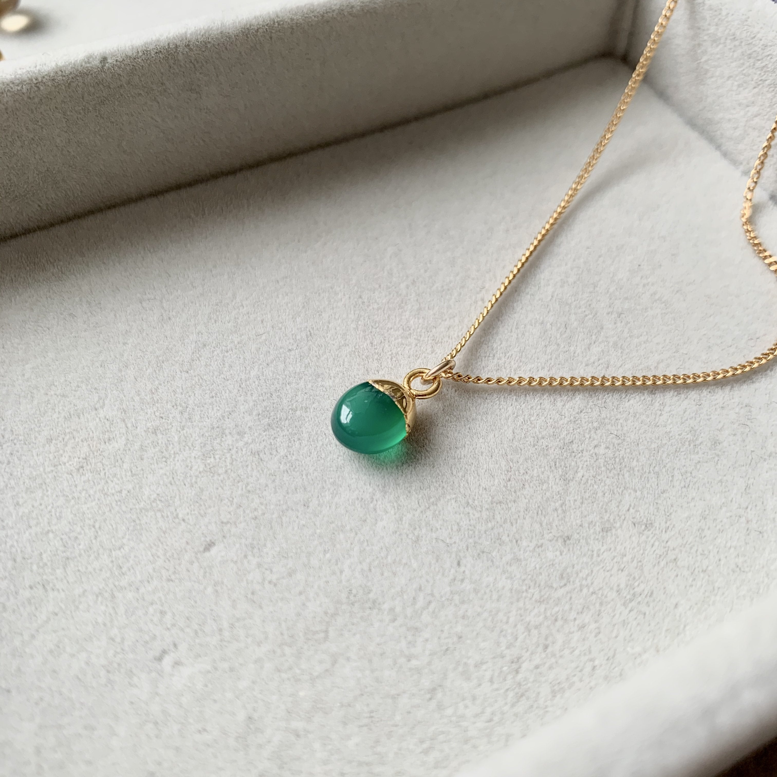 Tiny Tumbled Gemstone Necklace - Green Agate (Protection) (Pre order for Beginning May delivery) - Decadorn