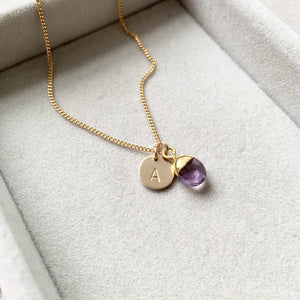 Tiny Tumbled Gemstone Necklace - Amethyst (Calming) - Decadorn