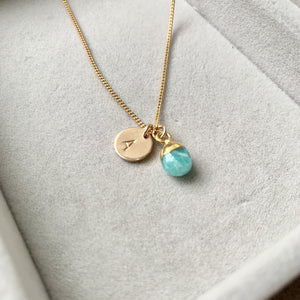 Tiny Tumbled Gemstone Necklace - Amazonite (Confidence) - Decadorn