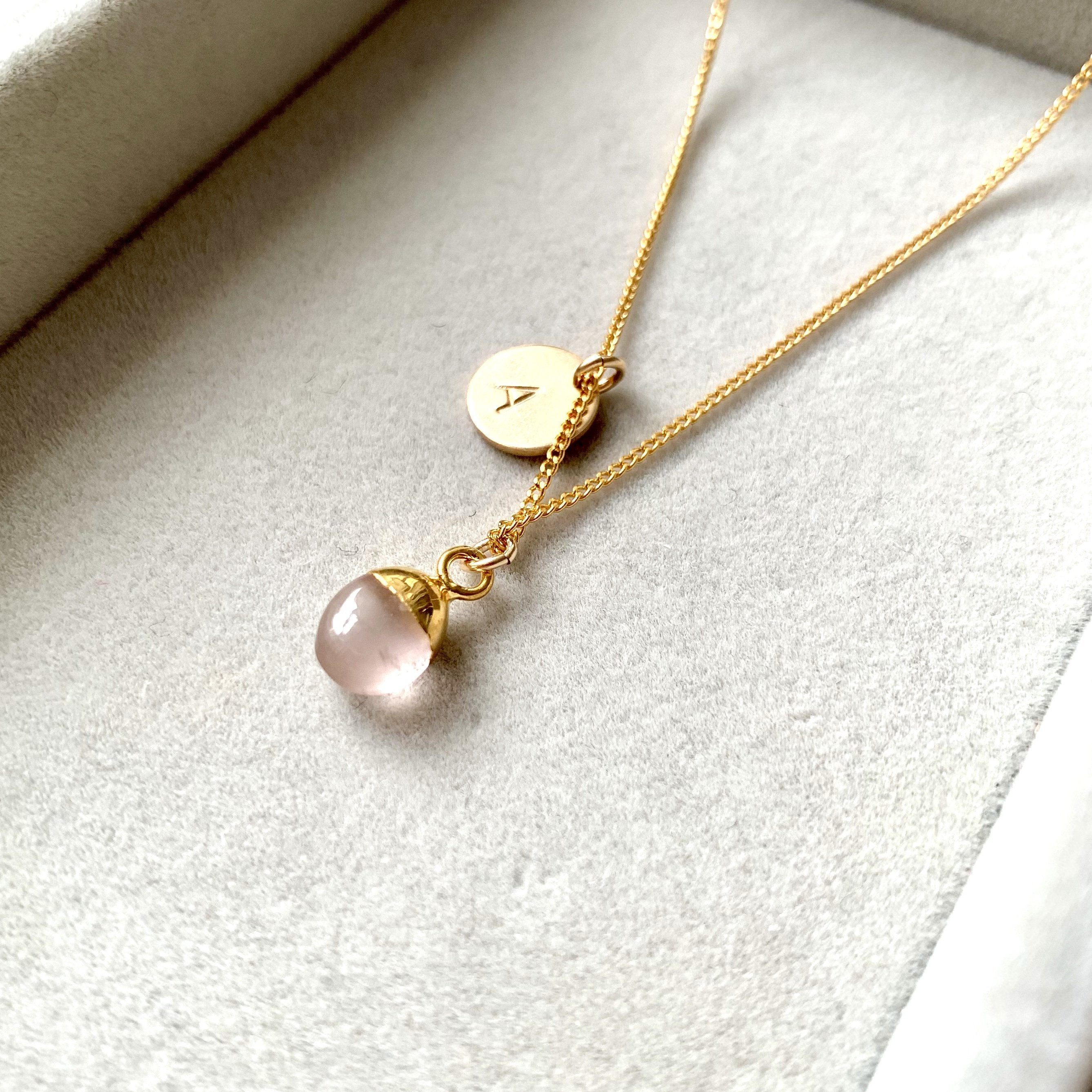 Tiny Tumbled Gemstone Necklace - Rose Quartz (Love) - Decadorn