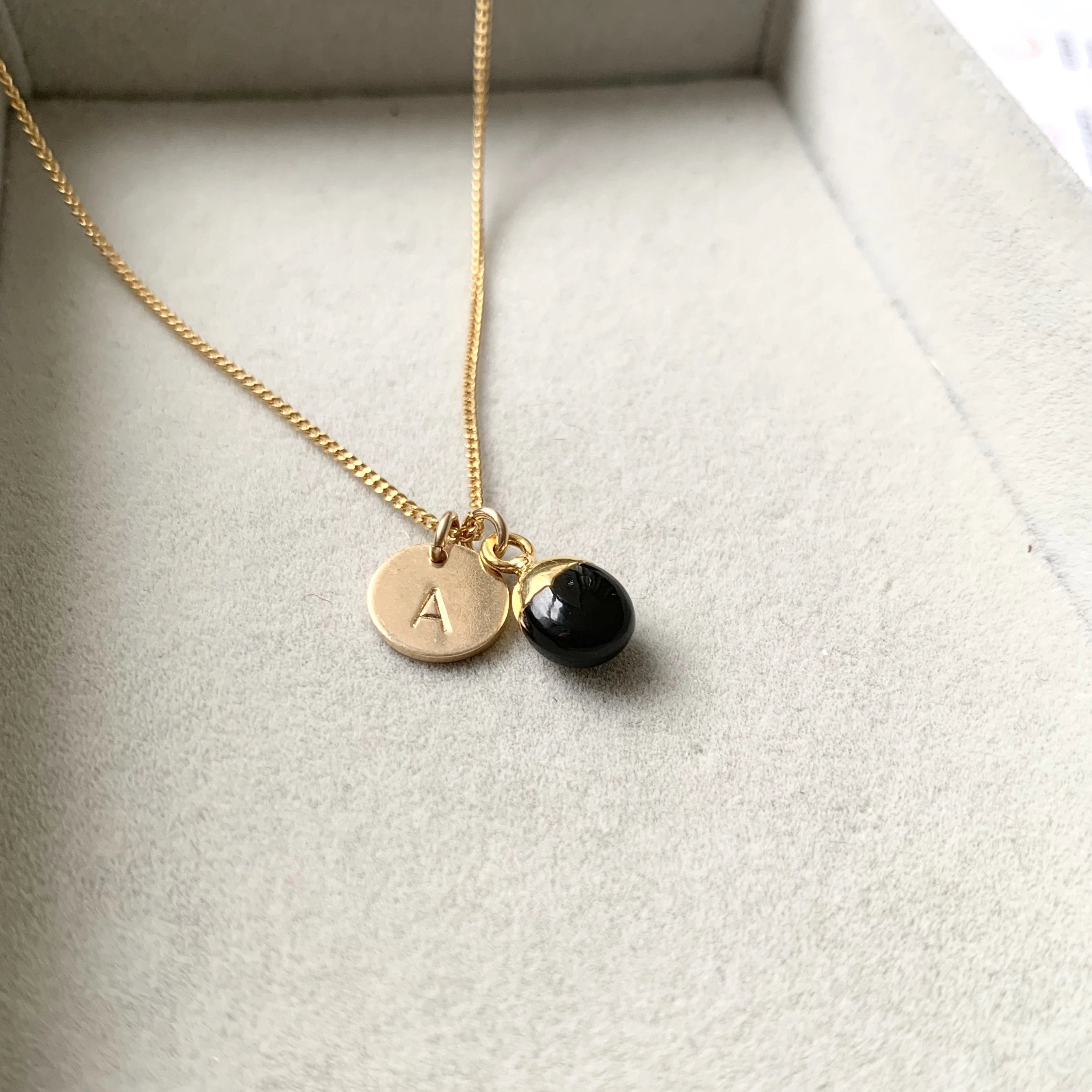 Tiny Tumbled Gemstone Necklace - Onyx (Strength) - Decadorn
