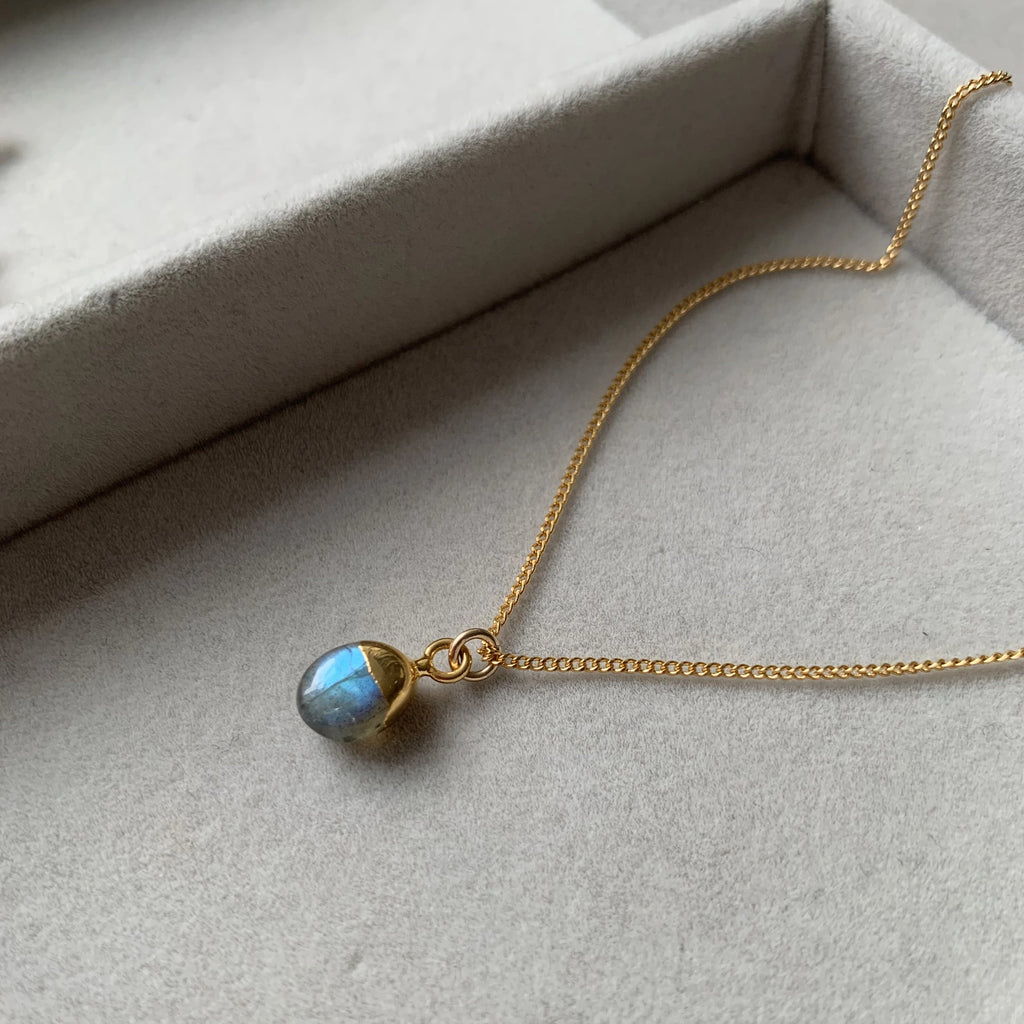 Tiny Tumbled Gemstone Necklace - Labradorite (Adventure)(Pre order for Beginning May delivery) - Decadorn