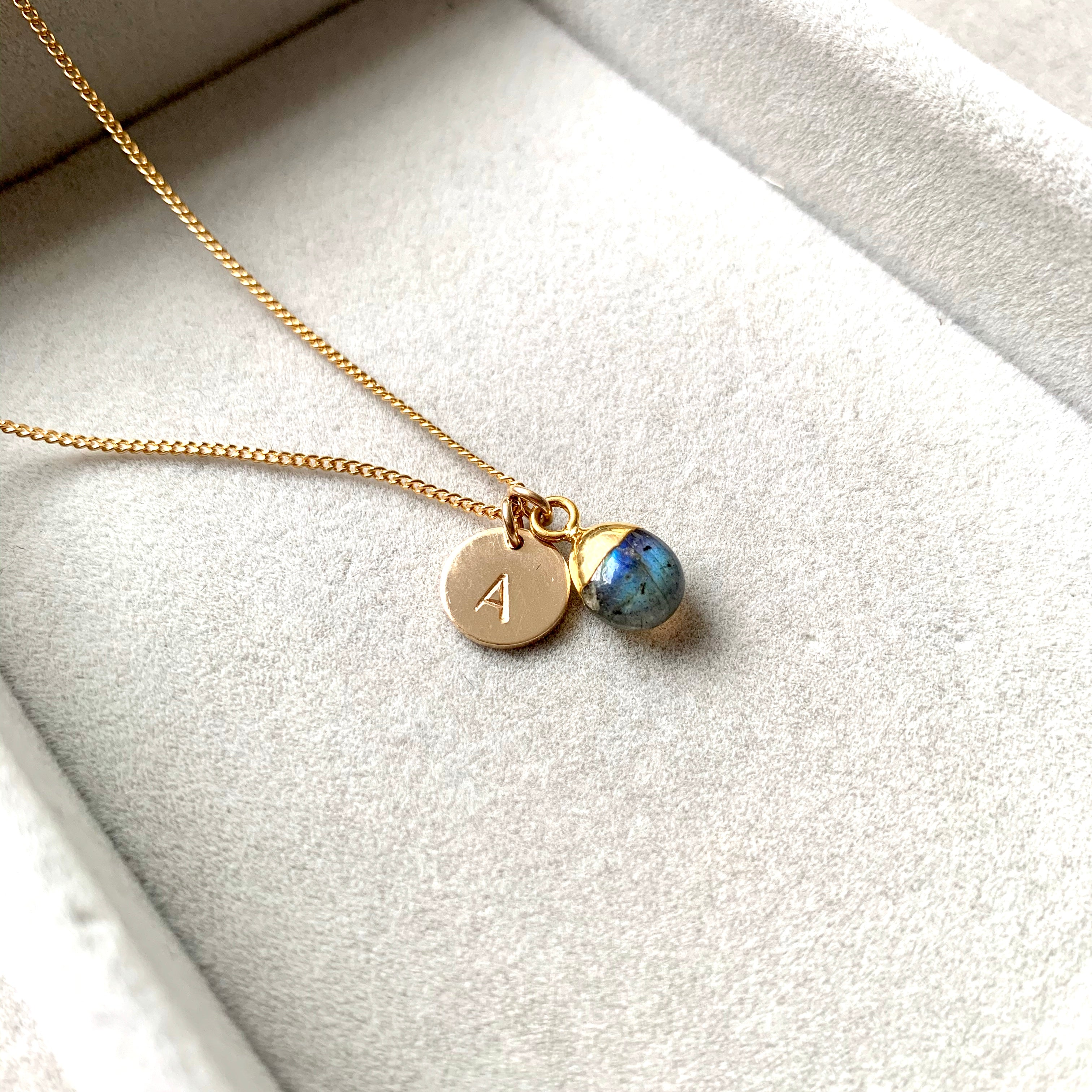 Tiny Tumbled Gemstone Necklace - Labradorite (Adventure) - Decadorn