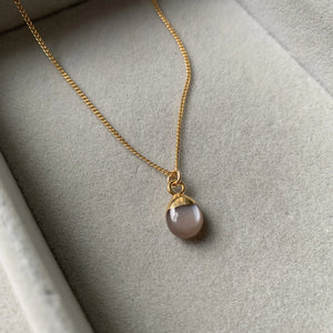 Tiny Tumbled Gemstone Necklace - Chocolate Moonstone (New Beginnings) - Decadorn