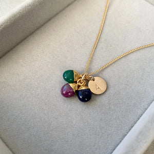 Decadorn Tiny Tumbled Triple Necklace - Protection, De-stress, Inspiration