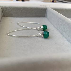 Tiny Tumbled Gemstone Dropper Earrings - Sterling Silver - Green Agate (Protection) - Decadorn