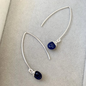 Tiny Tumbled Gemstone Dropper Earrings - Silver - Sodalite (Inspiration) - Decadorn