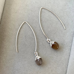Tiny Tumbled Gemstone Dropper Earrings - Silver - Chocolate Moonstone (New Beginnings) - Decadorn