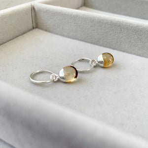 Tiny Tumbled Gemstone Hoop Earrings - Silver - Citrine (Success & Creativity) - Decadorn