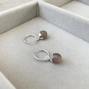 Tiny Tumbled Gemstone Hoop Earrings - Silver - Chocolate Moonstone (New Beginnings) - Decadorn