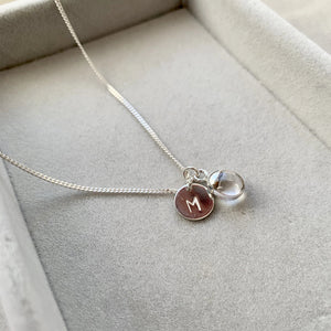 Tiny Tumbled Gemstone Necklace - Silver - Quartz (Healing) - Decadorn