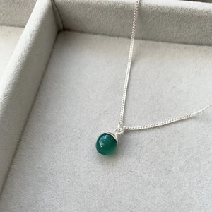 Tiny Tumbled Gemstone Necklace - Sterling Silver - Green Agate (Protection) - Decadorn