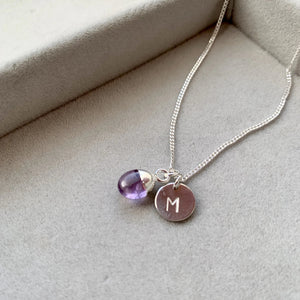Tiny Tumbled Gemstone Necklace - Sterling Silver - Amethyst (Calming) - Decadorn
