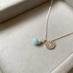 Tiny Tumbled Gemstone Necklace - Sterling Silver - Amazonite (Confidence) - Decadorn