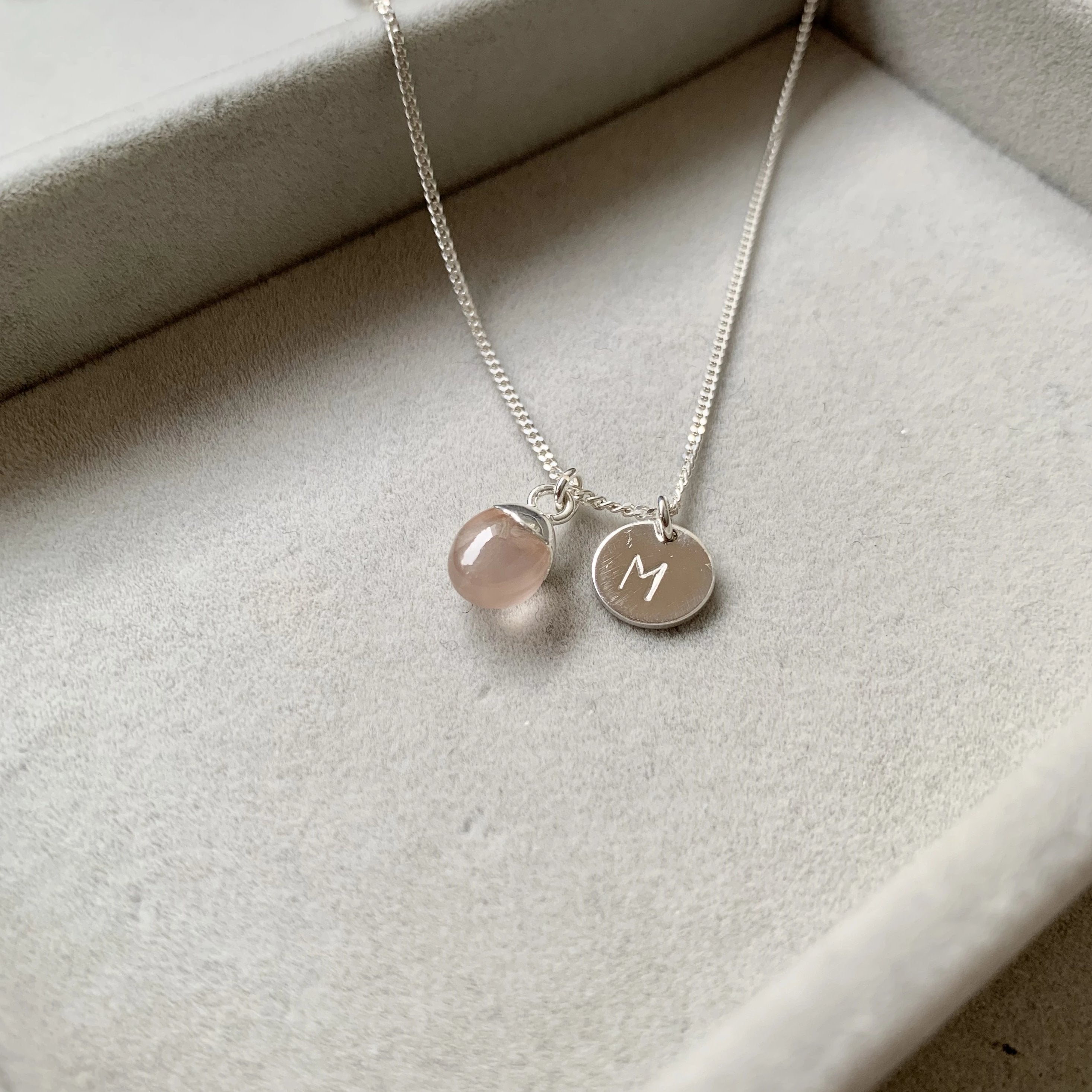 Tiny Tumbled Gemstone Necklace - Silver - Rose Quartz (Love) - Decadorn