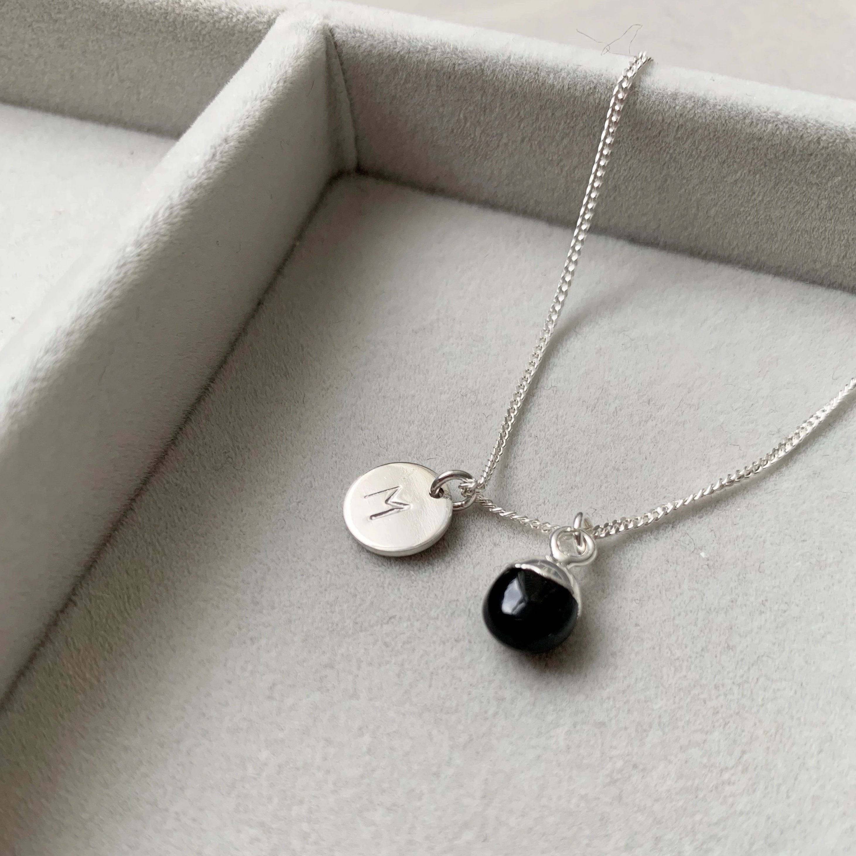 Tiny Tumbled Gemstone Necklace - Silver - Onyx (Strength) - Decadorn