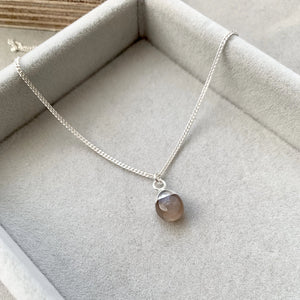 Tiny Tumbled Gemstone Necklace - Sterling Silver - Chocolate Moonstone (New Beginnings) - Decadorn