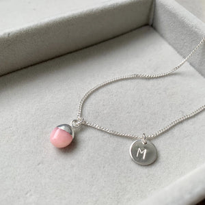 Tiny Tumbled Gemstone Necklace - Silver - OCTOBER, Pink Opal (Hope) - Decadorn