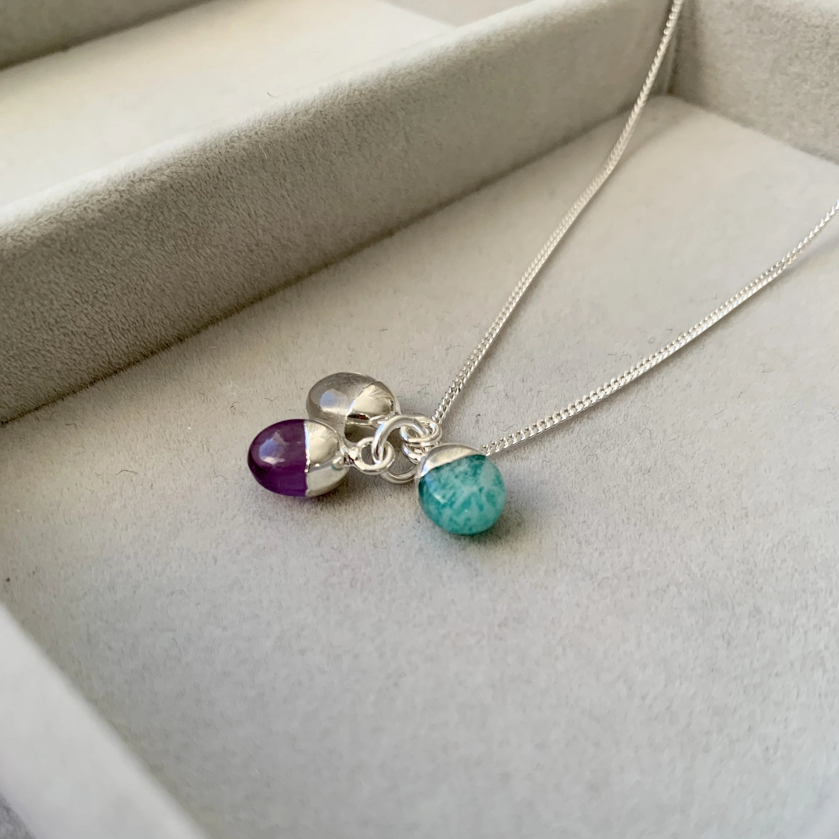 Tiny Tumbled Triple Necklace - Sterling Silver - Create Your Own - Decadorn