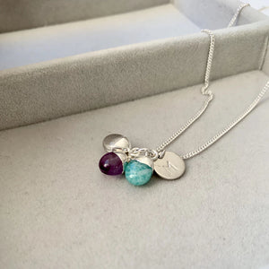 Tiny Tumbled Triple Necklace - Silver - Healing, Calming and Confidence - Decadorn