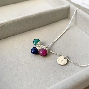 Tiny Tumbled Triple Necklace - Sterling Silver - Protection, De stress, Inspiration - Decadorn