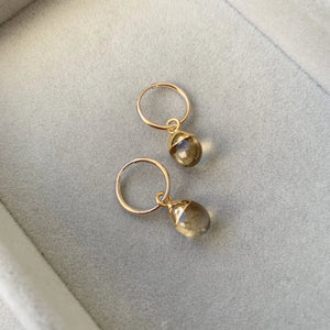 Tiny Tumbled Gemstone Hoop Earrings - Citrine (Success & Creativity)(Pre order for Beginning May delivery) - Decadorn