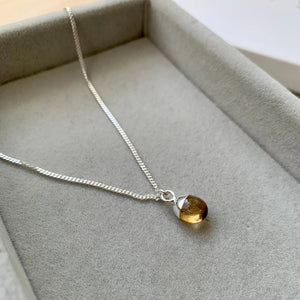 Tiny Tumbled Gemstone Necklace - Silver - Citrine (Success & Creativity) - Decadorn