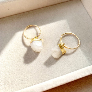 Birthstone Hoop Earrings - JUNE, Moonstone - Decadorn