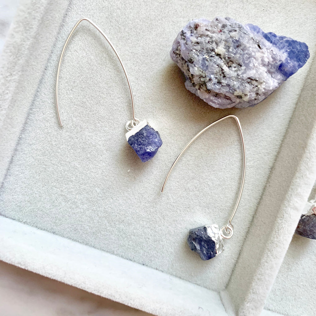 Birthstone Dropper Earrings - Silver - DECEMBER, Tanzanite - Decadorn