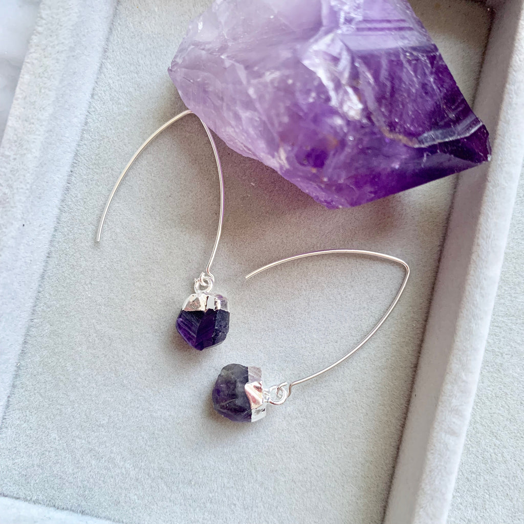 Birthstone Dropper Earrings - Silver - FEBRUARY, Amethyst - Decadorn