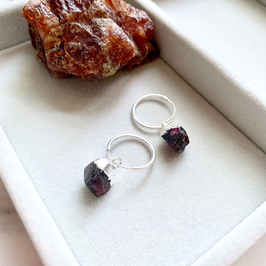 Birthstone Hoop Earrings - Sterling Silver - JANUARY, Garnet - Decadorn