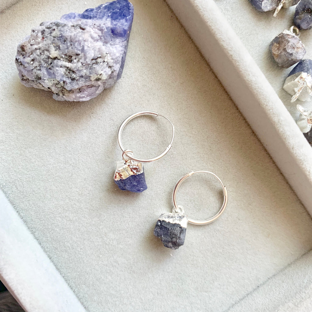 Birthstone Hoop Earrings - Sterling Silver - DECEMBER, Tanzanite - Decadorn