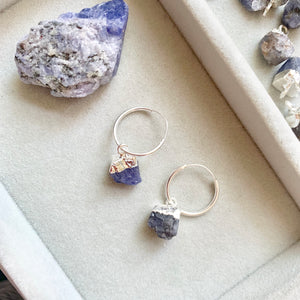 Birthstone Hoop Earrings, Sterling Silver - DECEMBER, Tanzanite - Decadorn