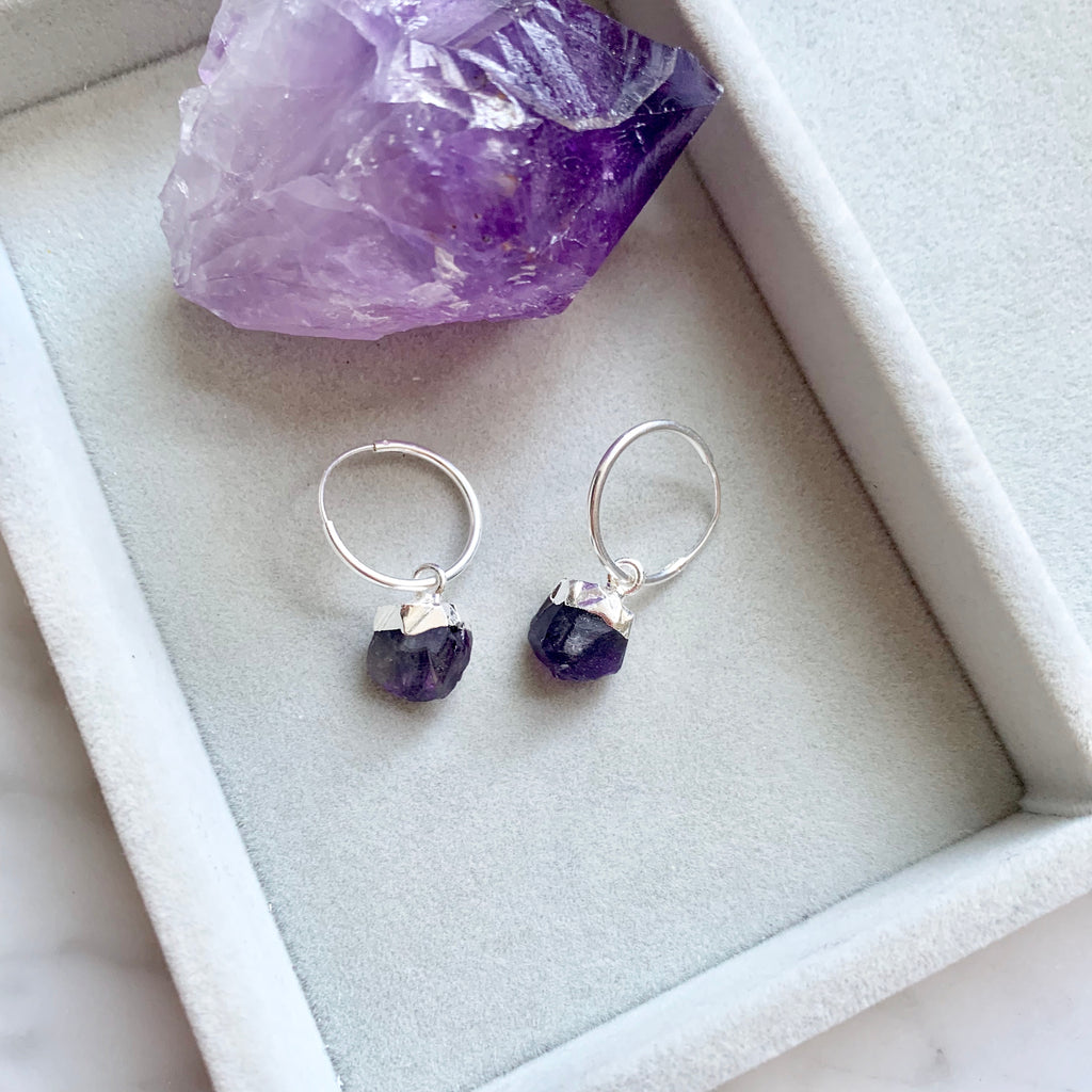Birthstone Hoop Earrings - Silver - FEBRUARY, Amethyst - Decadorn