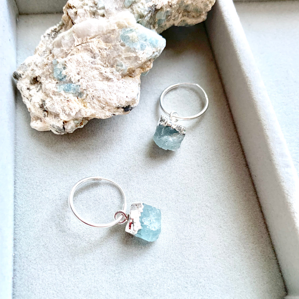Birthstone Hoop Earrings - Sterling Silver - MARCH, Aquamarine - Decadorn