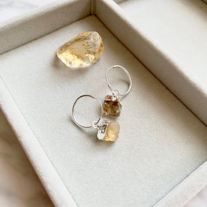 Birthstone Hoop Earrings - Sterling Silver - NOVEMBER, Citrine - Decadorn