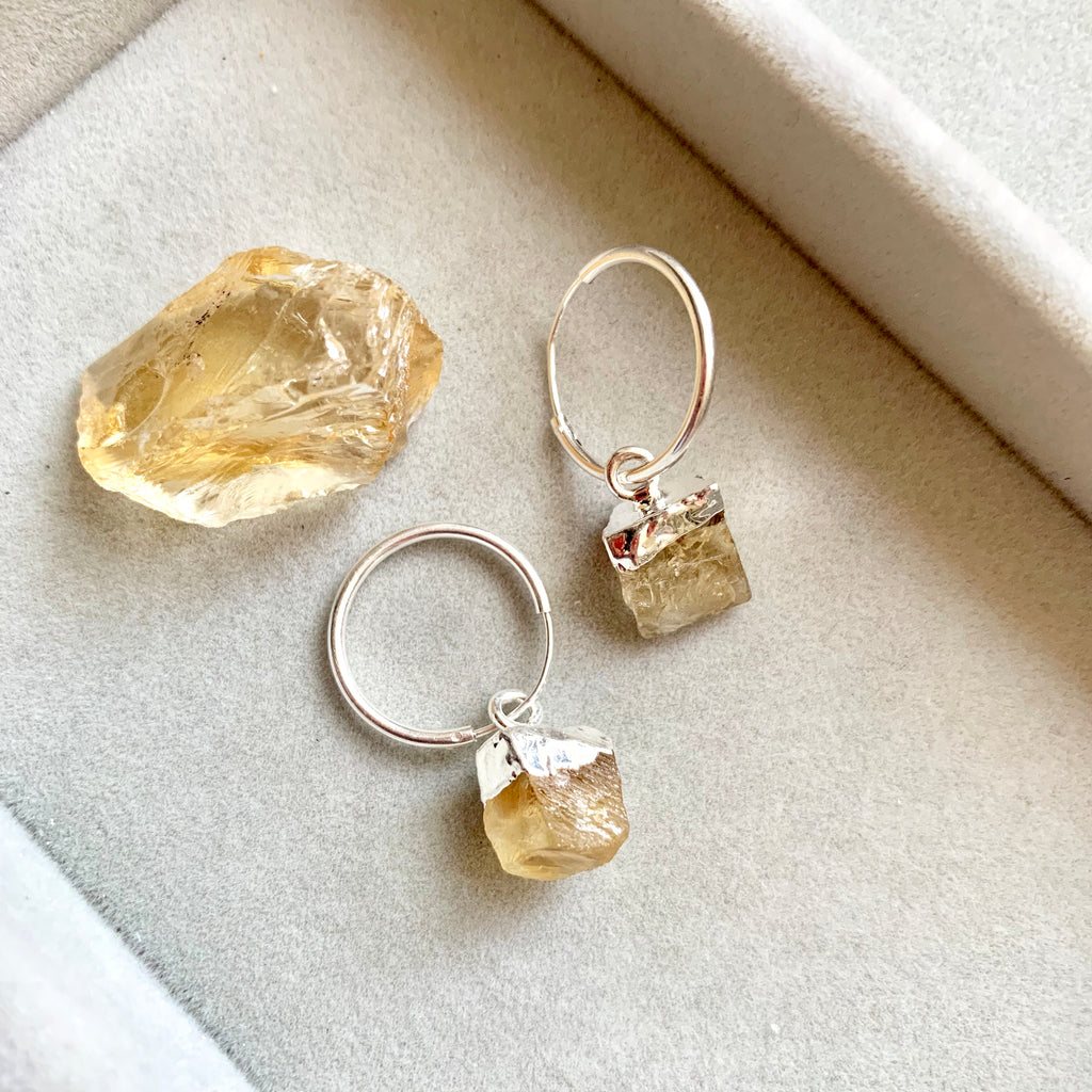 Birthstone Hoop Earrings - Silver - NOVEMBER, Citrine - Decadorn
