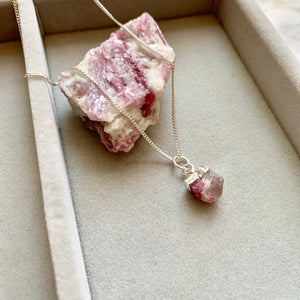 Birthstone Necklace - Silver - OCTOBER, Pink Tourmaline - Decadorn
