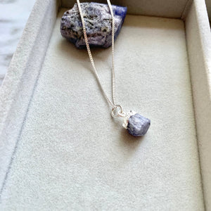 Birthstone Necklace, Sterling Silver - DECEMBER, Tanzanite - Decadorn