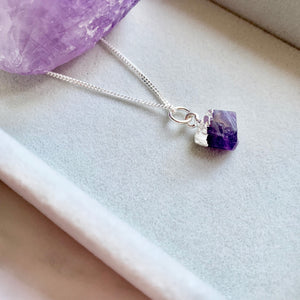 Birthstone Necklace - Sterling Silver - FEBRUARY, Amethyst - Decadorn