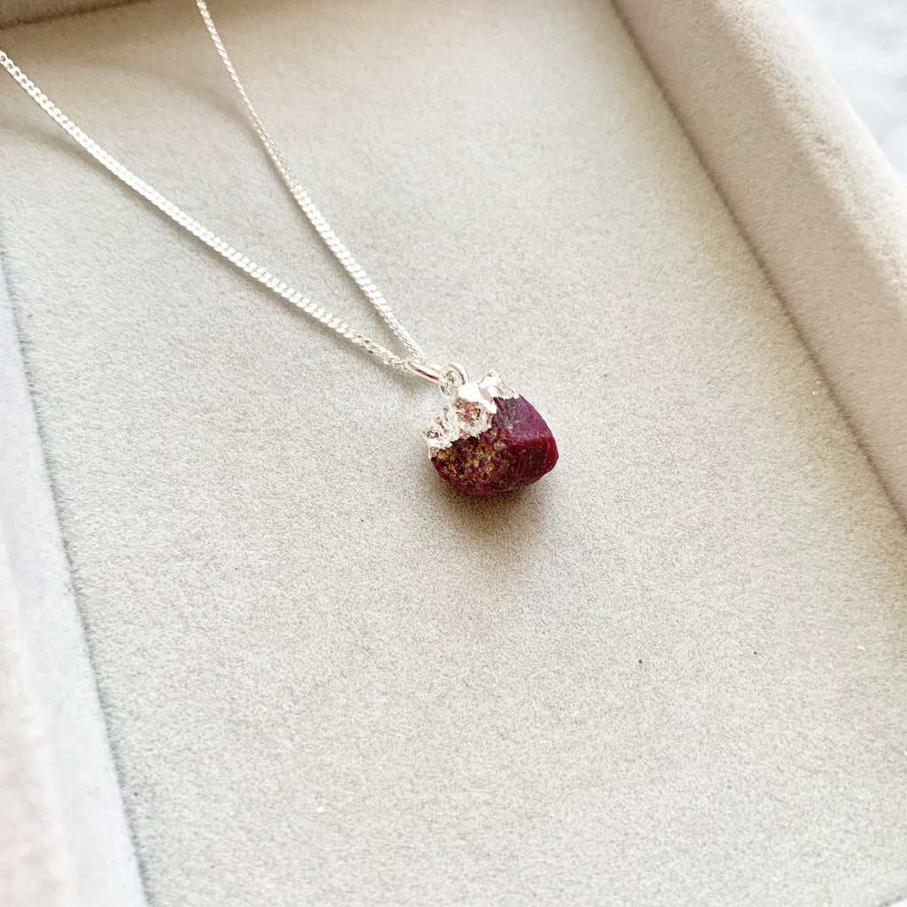 Birthstone Necklace - Silver - JULY, Ruby - Decadorn