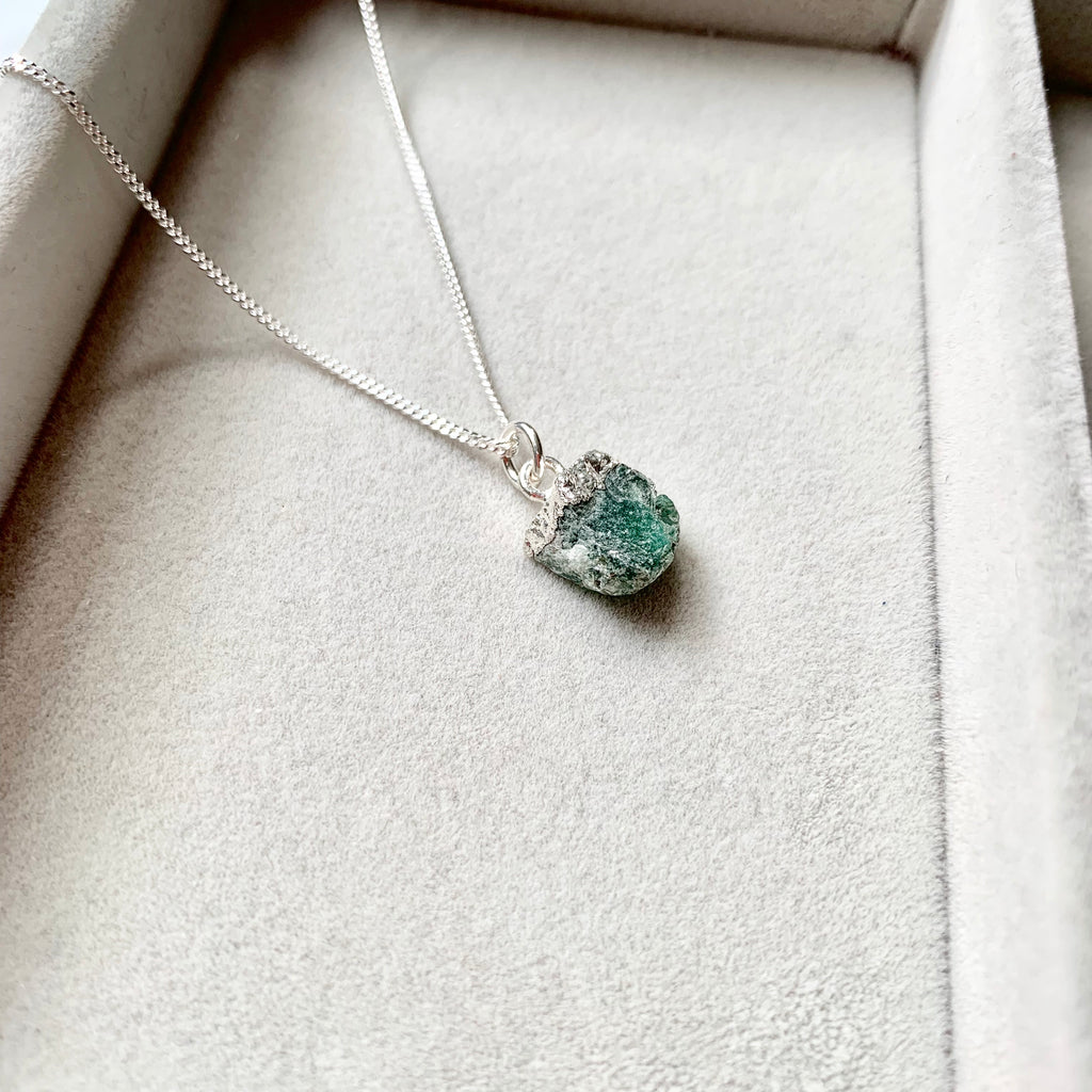 Birthstone Necklace - Sterling Silver - MAY, Emerald